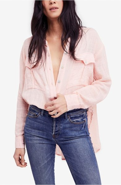 Free People talk to me top in peach - This top is cut from a lightweight woven cotton blend...