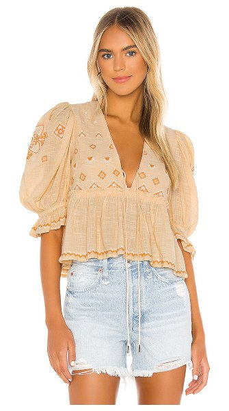 Free People tallulah embroidered blouse in peach