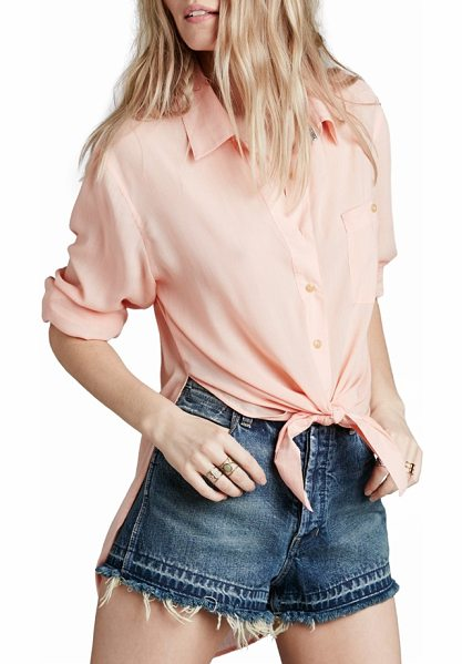 Free People thats a wrap shirt in pink - A crisp spread collar and structured back yoke style a...