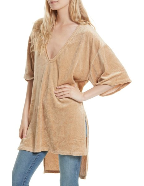 Free People the luxe tee in neutral - Leisure and luxury strike a perfect balance on a boxy,...