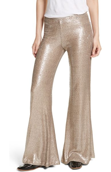 Free People the minx sequin flare pants in gold