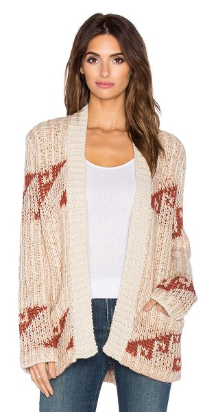 Free People Time and again pattern cardigan in beige - 70% acrylic 30% wool. Hand wash cold. Open front. Patch...