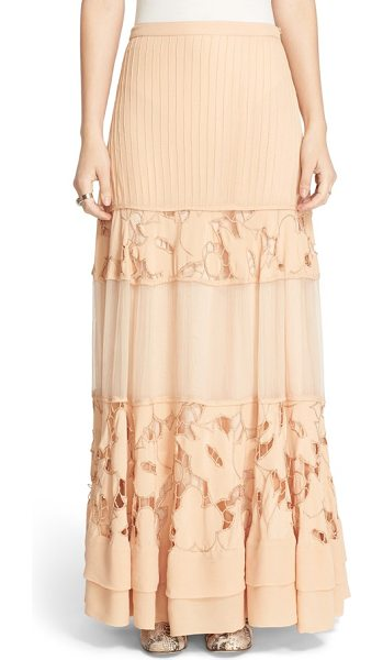 Free People to put it wildly lace inset maxi skirt in peach - Stripes of pintucked pleats, floral lace and softly...