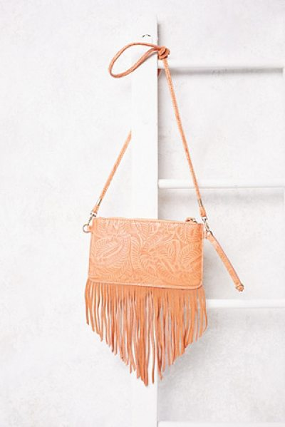 Free People Vegan tooled wallet in natural - Beautifully tooled leather crossbody featuring suede...