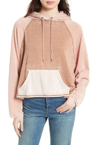 Free People tri color hoodie in neutral combo