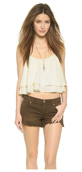 Free People Tropical wave crop top in cream - A built in shelf bra forms the shell of this flounced...