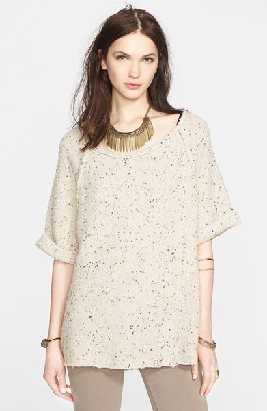 Free People tweed top in cream - Cuffed short sleeves, a step hem with side vents and...