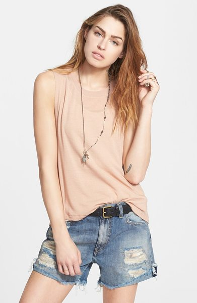 FREE PEOPLE twist back jersey tank - A ribbed tank woven from stretch triblend reveals a mesh...