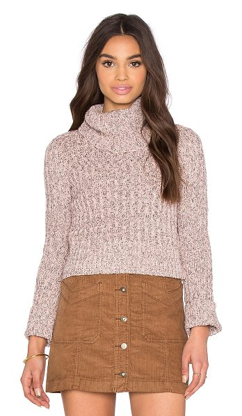 Free People Twisted cable tneck in blush - 83% cotton 10% poly 7% acrylic. Hand wash cold....