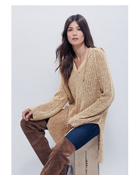 FREE PEOPLE Underground hoodie dress - Textured loose-knit hoodie with a drawstring neckline...