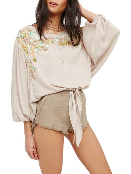 Free People up & away embroidered peasant blouse in pink - This billowy blouse is cinched at the waist and...