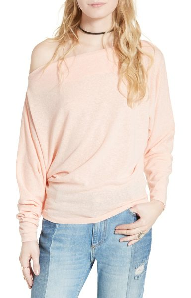 Free People valencia off the shoulder pullover in peach - Softly marled yarns create atmospheric color on a...