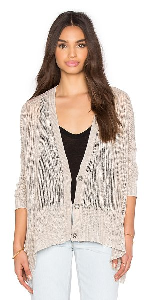 Free People Vee vee cardi in tan - 100% linen. Hand wash cold. Open front. FREE-WK374....