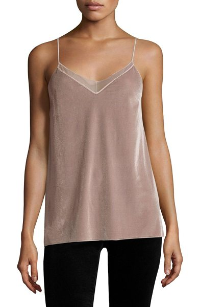 Free People velvet solid tank top in sand - Velvet tank top with mesh panel at front.V-neck....