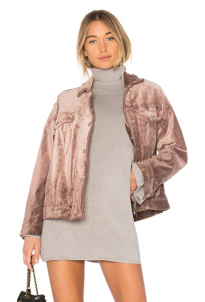 Free People Velvet Trucker Jacket in mauve - Self: 62% cotton 36% rayon 2% spandexLining: 100%...