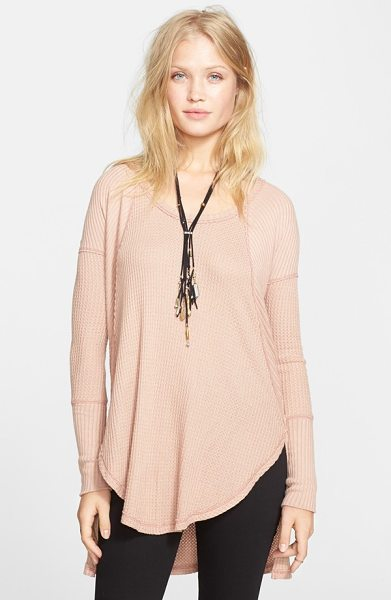 Free People ventura high/low thermal top in faded rose - Raised seams highlight the mix of ribbed and...