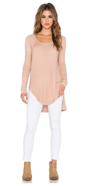 Free People Ventura thermal tee in tan - 95% rayon 5% spandex. Hand wash cold. FREE-WS1426....