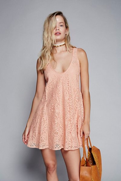 Free People Voop lace mini dress in soft peach - Lovely lace dress with an easy swingy silhouette....