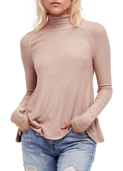 Free People weekends snuggle turtleneck in neutral - A soft, lightweight turtleneck with an unfinished hem is...