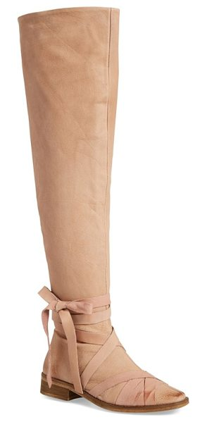 Free People west end wraparound over the knee boot in beige leather - Contrast leather straps wrap the shaft and square toe of...
