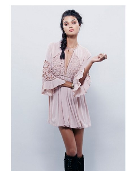 Free People Wildest dreams lace tunic in powder pink - Sheer and swingy lightweight tunic with romantic lace...