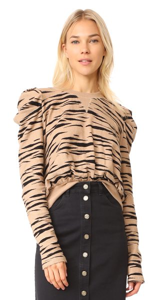 Free People zaza zebra pullover top in brown combo - This tactile french terry Free People sweatshirt is...