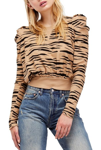 Free People zaza zebra pullover in brown combo - A zebra-print pullover in supersoft terry with statement...