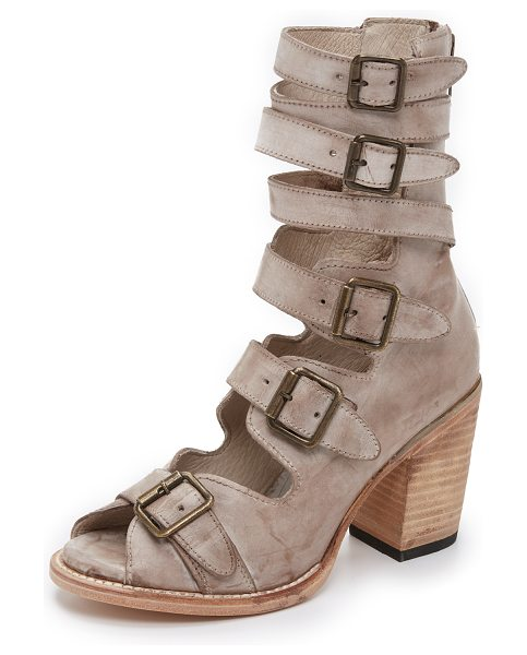 Freebird by Steven Bond sandals in taupe - Distressed leather straps and antiqued buckle closures...