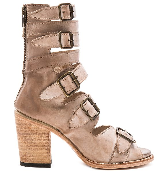 Freebird by Steven Bond in taupe - Leather upper and sole. Front buckle closures. Back zip...