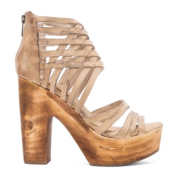 FREEBIRD BY STEVEN Costa heel in taupe - Leather upper with man made sole. Heel measures approx...