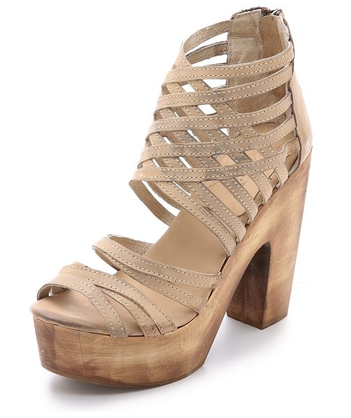 Freebird by Steven Costa strappy sandals in taupe - Dirtied leather straps form a sturdy lattice on these...