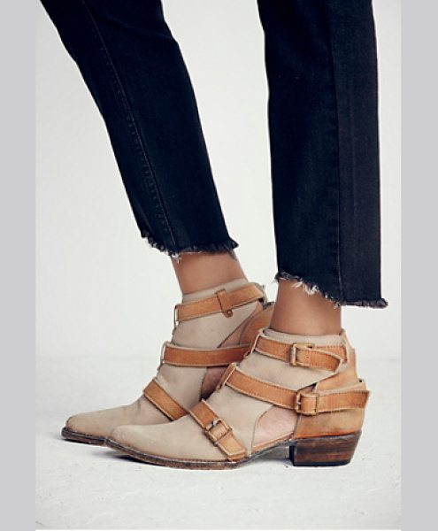 Freebird by Steven + Free People< Jade ankle boot in taupe - Pointy toe leather booties featuring contrast strap...