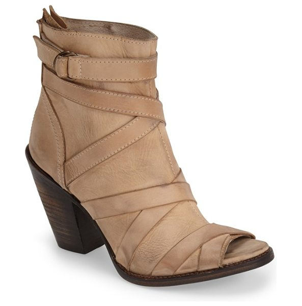 Freebird by Steven joker leather peep-toe bootie in taupe - Wraparound corset straps and breezy open-toe styling...