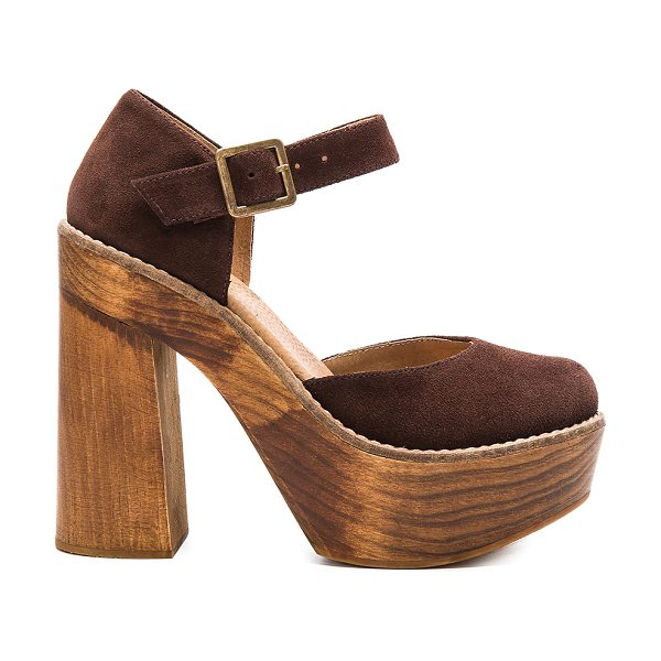 Freebird by Steven Poppy in chocolate brown - Suede upper with rubber sole. Ankle strap with buckle...