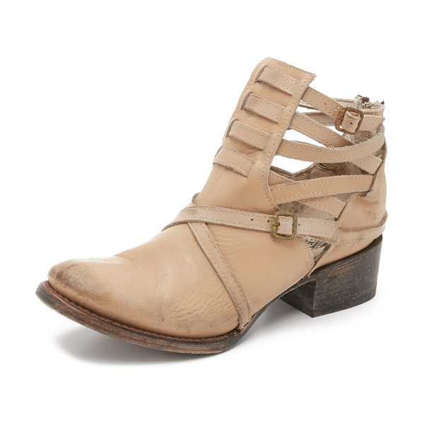 Freebird by Steven Stair booties in taupe - Distressed straps and an antiqued buckles accent the...