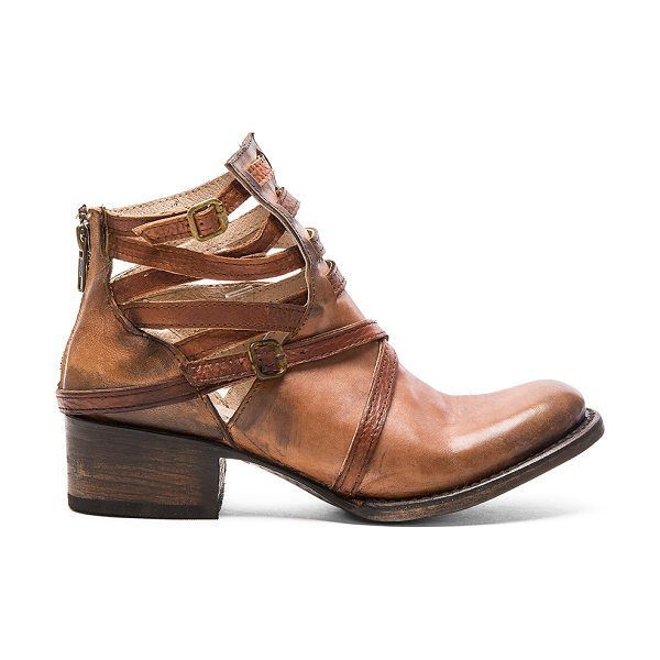 Freebird by Steven Stair in cognac - Leather upper and sole. Caged cut-out detail with buckle...