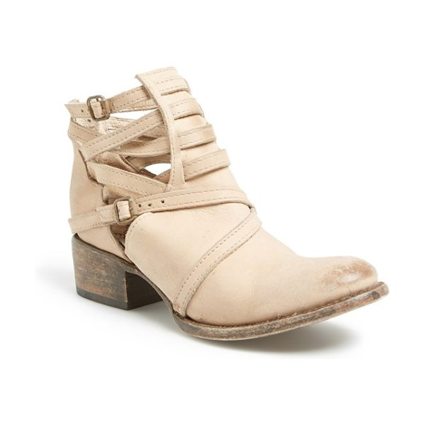 Freebird by Steven stairway leather boot in taupe - Crisscrossed straps bridge the cutout shaft of an edgy...