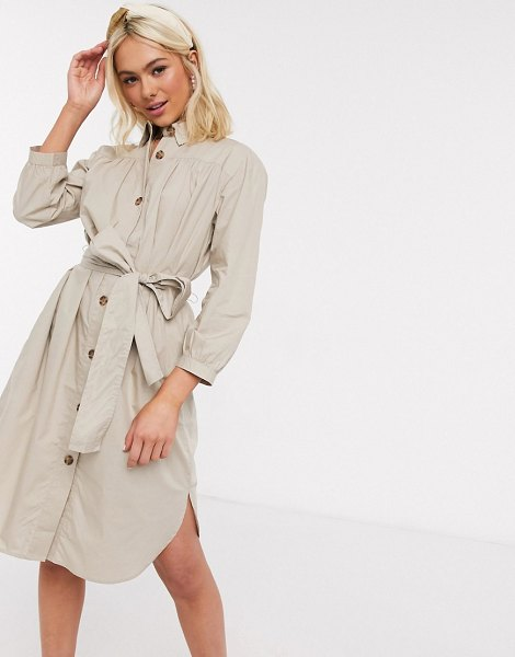 French Connection belted shirt dress-brown in brown