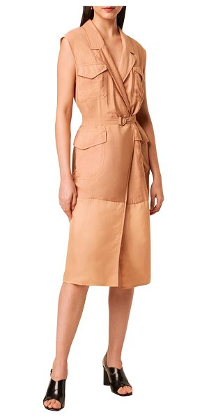 French Connection brekhna midi faux wrap shirtdress in beige