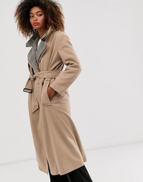 French Connection check collar coat-brown in brown