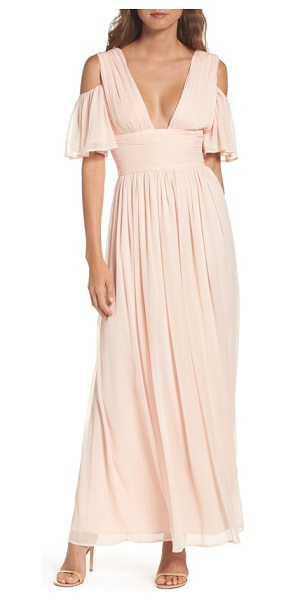 French Connection constance cold shoulder maxi dress in pink opal - Stand out at your next big event in a chiffon maxi made...