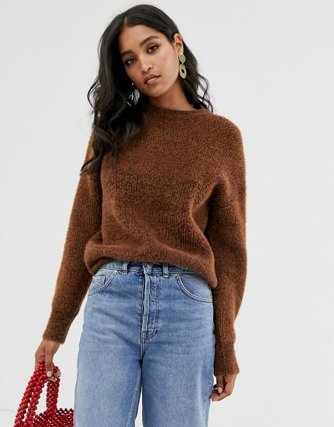 French Connection crew neck textured sweater-brown in brown