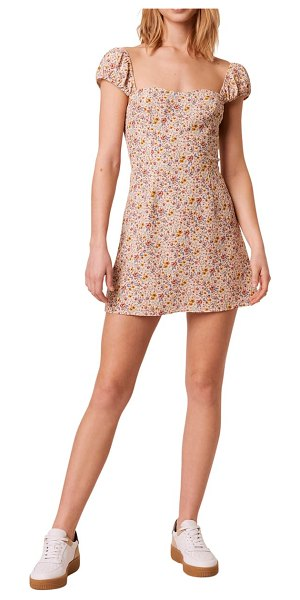 French Connection delmira verona ditsy floral minidress in beige