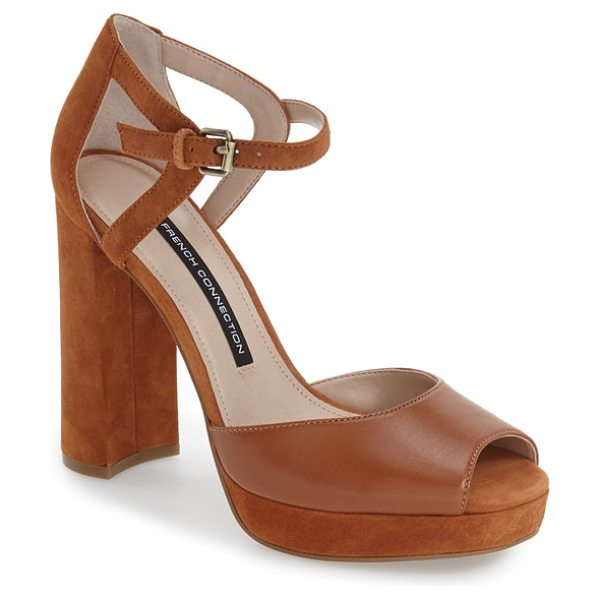 French Connection dita platform sandal in casa brown/ casa brown leather