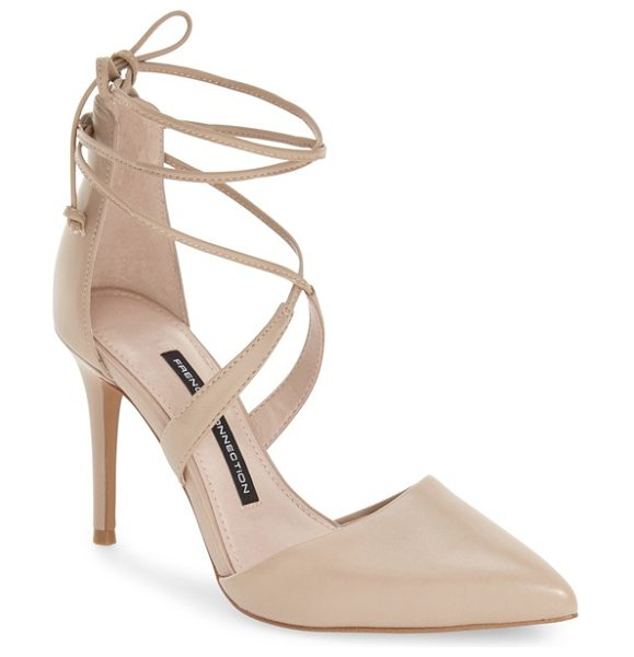 French Connection elise dorsay wraparound lace pump in almost nude leather - A pointy toe and a sultry d'Orsay profile balance flirty...