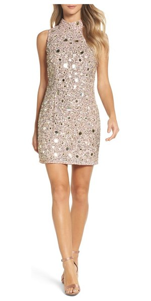 French Connection eloise mirrors body-con dress in cinder rose/ gold - Sparkle throughout the party season in this statement...