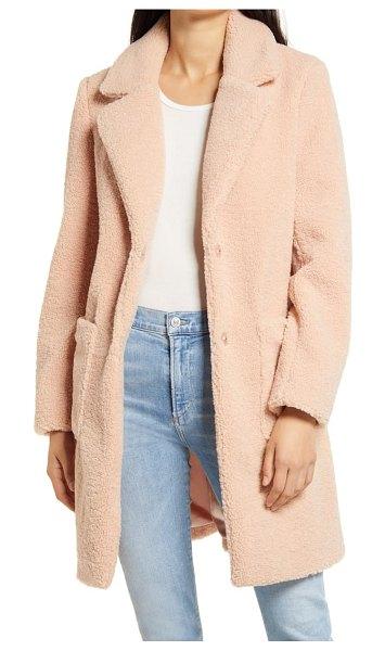 French Connection faux fur teddy coat in pink
