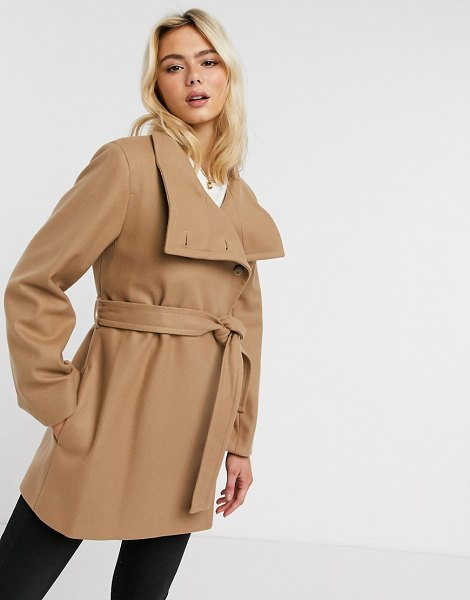 French Connection funnel-neck wool belted coat in camel-brown in brown