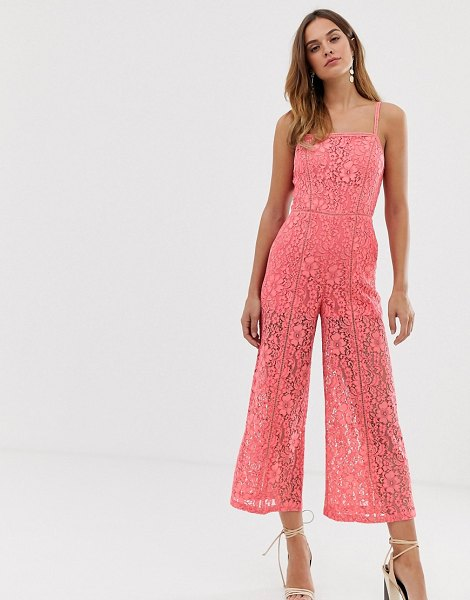 French Connection helenie lace jumpsuit-pink in pink