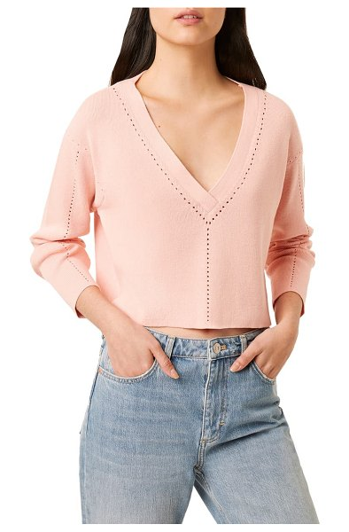 French Connection leona pointelle crop v-neck sweater in pink